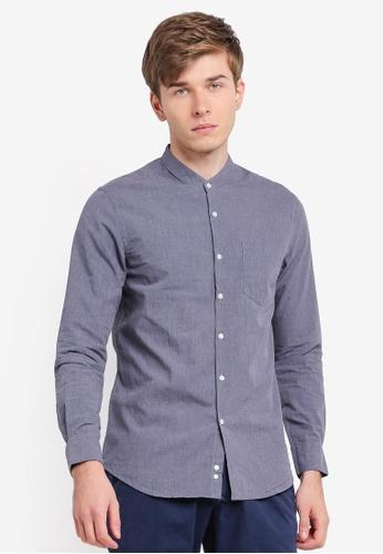 Electro Denim Lab 藍色 Melange Mandarin Collar Shirt EL966AA0SPC4MY_1