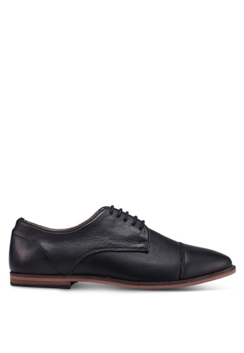 Topman black Black Leather Blinder Toecap Shoes F5BD7SH11F1744GS_1