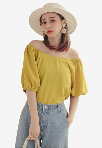 Tokichoi yellow Basic Off Shoulder Top B79D4AA3EF38F6GS_1