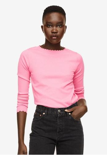 Mango pink Scalloped Edges Sweater C9E54AA9214A8AGS_1