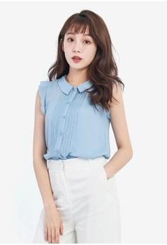 Tokichoi blue Ruffled Sleeve Blouse With Pleated Front TO550AA0RKF1MY_1