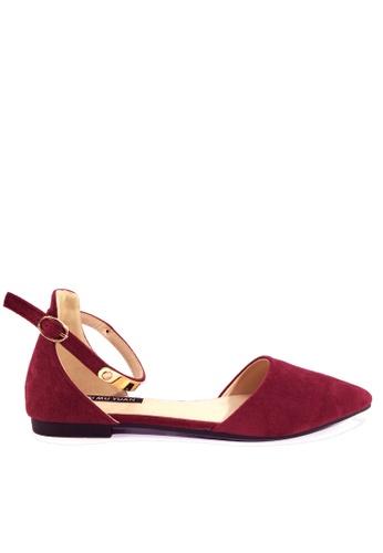 Twenty Eight Shoes 紅色 閃耀的踝帶尖頭小跟鞋 VL916814 E4ECDSH3D4E224GS_1