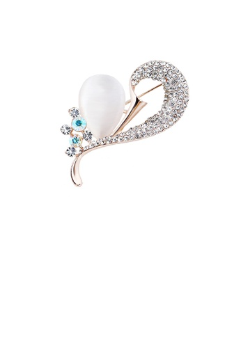 Glamorousky white Fashion and Elegant Plated Gold Heart-shaped Opal Brooch with Cubic Zirconia D1CD0ACE8CB2A8GS_1