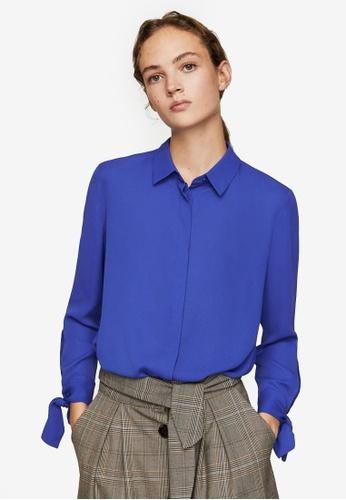 Mango blue Buttoned Flowy Shirt B9EC5AAE1E72A1GS_1
