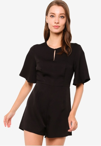 ZALORA WORK black Bell Sleeve Playsuit D185EAACE14370GS_1
