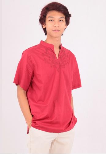 East India Company red Arman Short Sleeve Shirt with Indian Origin Handwork 73F4BAAAE516B2GS_1