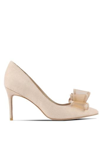 Velvet beige Deconstructed Bow Pump Heels E25EDZZ6621C6CGS_1