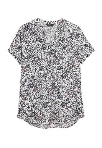 MARKS & SPENCER white M&S Animal Print V-Neck Short Sleeve Tunic 4D192AA2985E2DGS_1