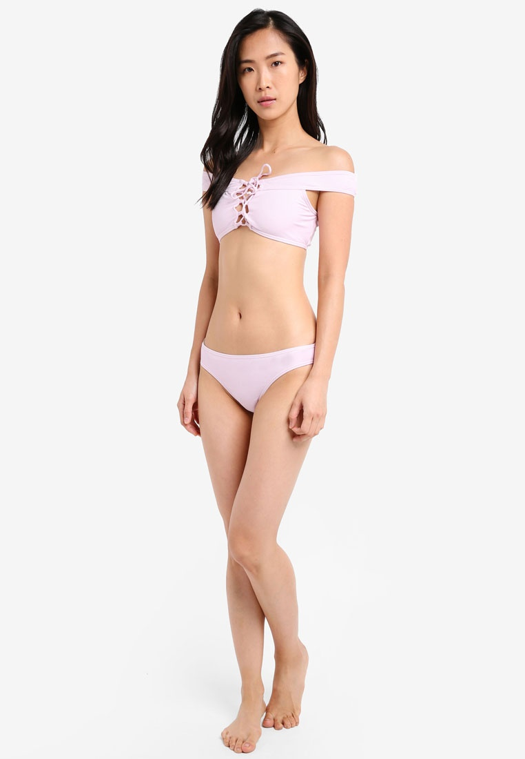 Ribbed Bardot Bikini South Lattice Beach Lilac Lilac Uwzpqxagp