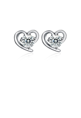 Glamorousky white 925 Sterling Silve Simple Mini Fashion Heart Shape Earrings with Cubic Zircon 86585AC942C799GS_1
