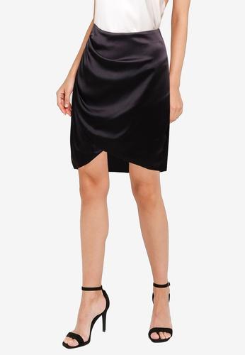 ZALORA OCCASION black Satin Wrap Ruching Detail Skirt 3A2ACAA3EEEE31GS_1