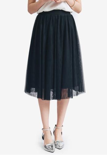 Yoco black Flared Tulle Midi Skirt 2E862AAB4EA922GS_1