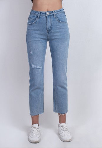 Odiva Woman blue LAVINE CROPPED JEANS - BLUE 427A3AAC746FA6GS_1