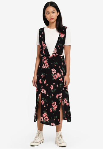 TOPSHOP black Posy Midi Length Pinafore Dress 13948AA7A7A365GS_1