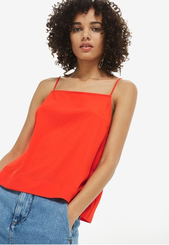 TOPSHOP red Square Neck Camisole Top 80F63AAC8F7B1AGS_1