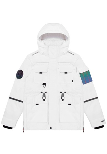 Fingercroxx white Patch down jacket 2036CAAD1376B5GS_1