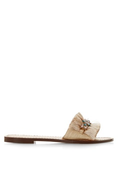 418ce85553155 Dune London beige Fringe Detail Embellished Flat Sandals D36B1SH2C92AA0GS_1