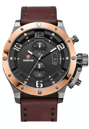Expedition brown Expedition Jam Tangan Pria - Brown Grey Rosegold - Leather Strap - 6381 MCLERBA 3FD21ACA6B6162GS_1