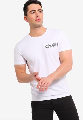 Calvin Klein 白色 品牌刺繡T恤 666B1AA4687424GS_1