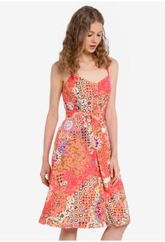 細肩帶印花洋裝