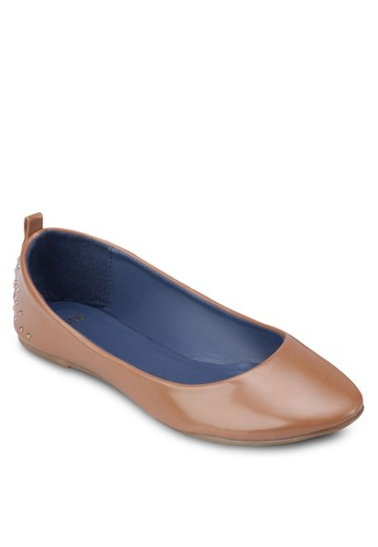 圓頭鉚釘平底鞋, 女esprit hk分店鞋, 芭蕾平底鞋