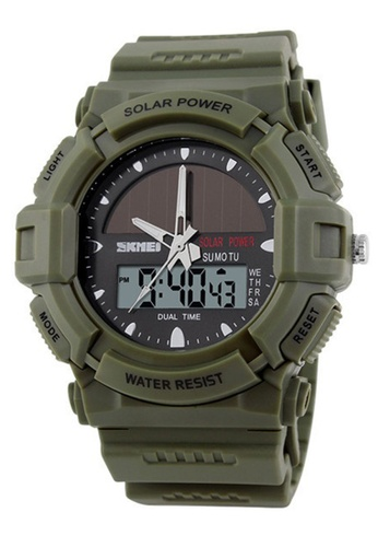 Skmei green SKMEI 1050 Men's Military Solar Power LED Sports Watch (Green) SK707AC0RXNTMY_1