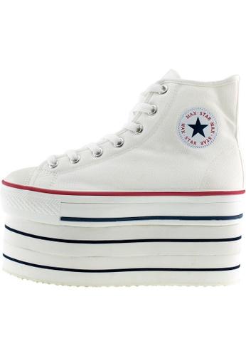 Maxstar 白色 新款韩国鞋CNW-8H時尚帆布布混合女白色 US Women Size MA345SH49HGSTW_1