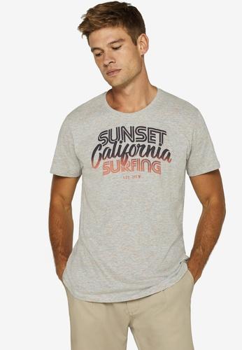 ESPRIT 灰色 Surfer Print T-襯衫 36088AA2C5448FGS_1