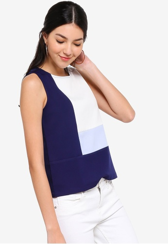 ZALORA multi and navy Colorblock Top A4B6DAAB27D8FEGS_1