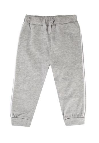 FOX Kids & Baby grey Newborn Side Stripe Drawstring Jersey Pants 4A852KAEAF9A79GS_1