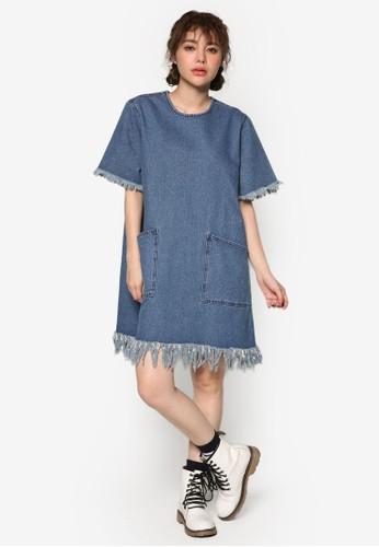 韓系esprit hong kong 分店時尚抽鬚下擺丹寧連身裙, 服飾, 洋裝