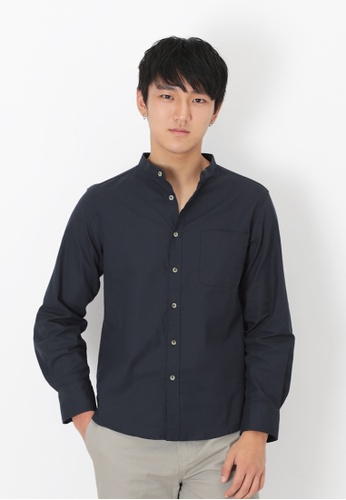 A for Arcade blue and navy Lennon Band Collar Shirt in Navy 311F8AAD325083GS_1