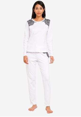 UniqTee white Lace Trim Pajama Set F6E24AA058C3A1GS_1