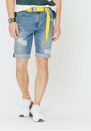 H:CONNECT blue Ripped Cropped Shorts CB3AAAA798224CGS_1