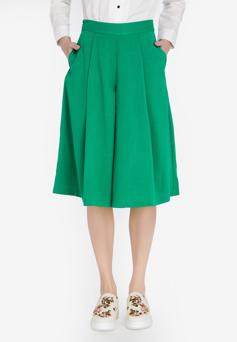 Wide Green Culottes Pleated Hopeshow Tropical SUqRRP