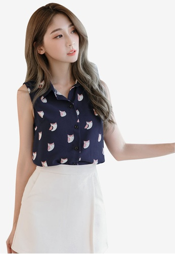 Eyescream navy Printed Owl Sleeveless Blouse 4A530AAE9E038AGS_1