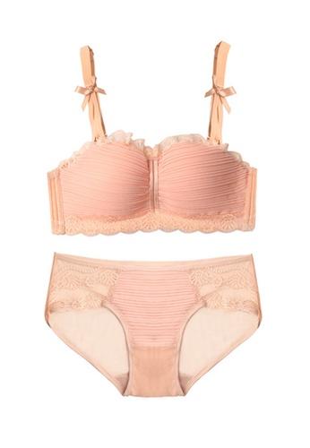 ZITIQUE beige Women's Newest Sexy Lace Lingerie Set (Bra And Underwear) - Beige 18F8CUS64550EDGS_1
