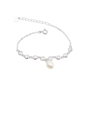 Glamorousky silver 925 Sterling Silver Simple Temperament Geometric Freshwater Pearl Bracelet 5E534AC11D831AGS_1