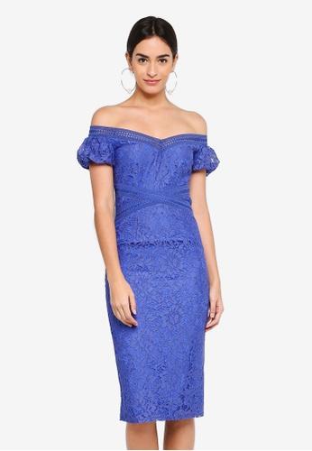 Little Mistress blue Lace Bardot Dress 114EBAA9C96EAEGS_1