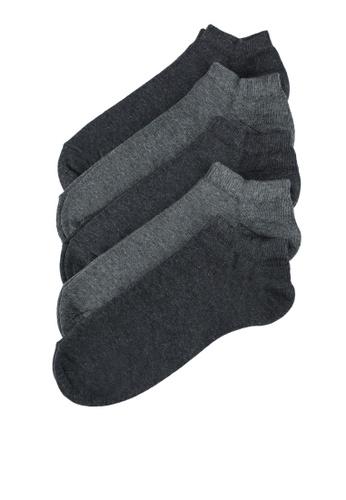 Burton Menswear London grey 5 Pack Grey Trainer Liner Socks 343EFAABA06FF3GS_1