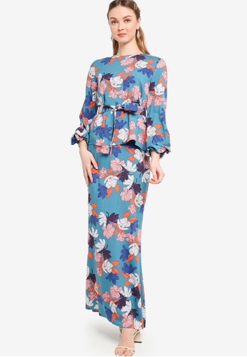 Lubna blue Belted Puff Sleeves Kurung 8BD80AAE3454F8GS_1
