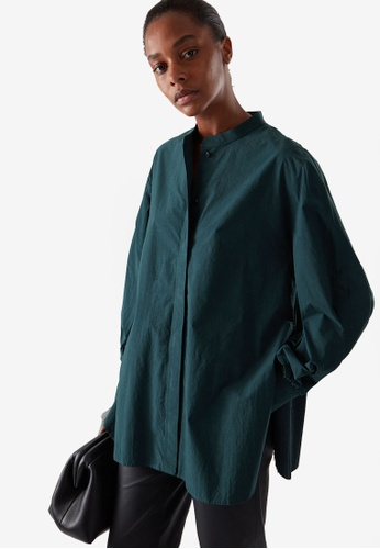 COS green and blue Collarless Pleated Panel Shirt AA89FAA94FD07AGS_1