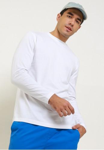 Giordano white Men's Long Sleeve Tee 8BD9AAA2DA37C8GS_1