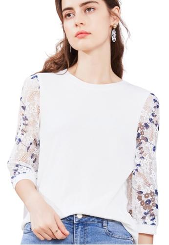 HAPPY FRIDAYS 白色 印花蕾絲拼袖七分袖T恤 JW GW-J199B 8FAD8AA8C44C08GS_1