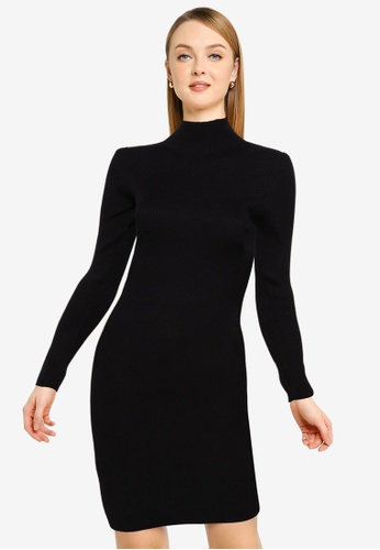 MISSGUIDED black High Neck Knitted Mini Dress D8739AA7581489GS_1