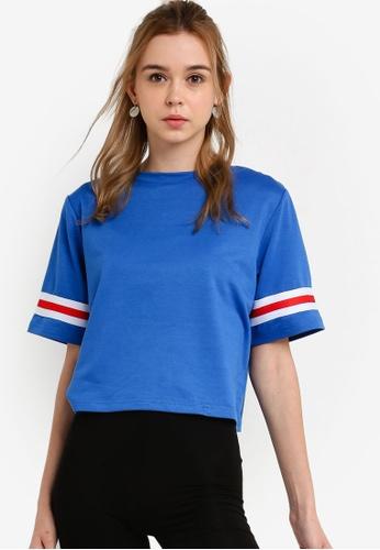 Something Borrowed 藍色 運動條紋T恤 E9CBAAAF4A7745GS_1