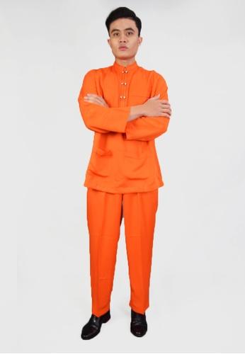 Denai Boutique orange Baju Melayu Iman 13A3EAA1DA0BBDGS_1