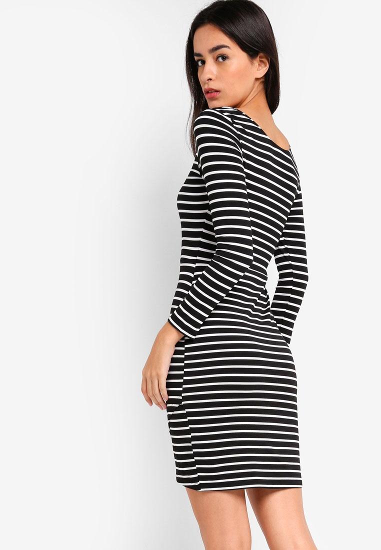 ZALORA Sleeves Stripes Bodycon Long White Basic Dress Black PwInR