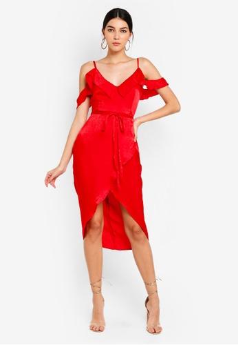 MISSGUIDED red Cold Shoulder Frill Midi Dress 60E10AA3C4F6E3GS 1 0933758f2