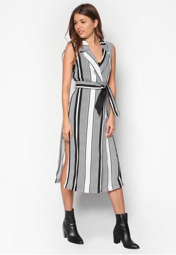 條紋繫帶無袖長版外套, 服飾zalora 心得, 服飾